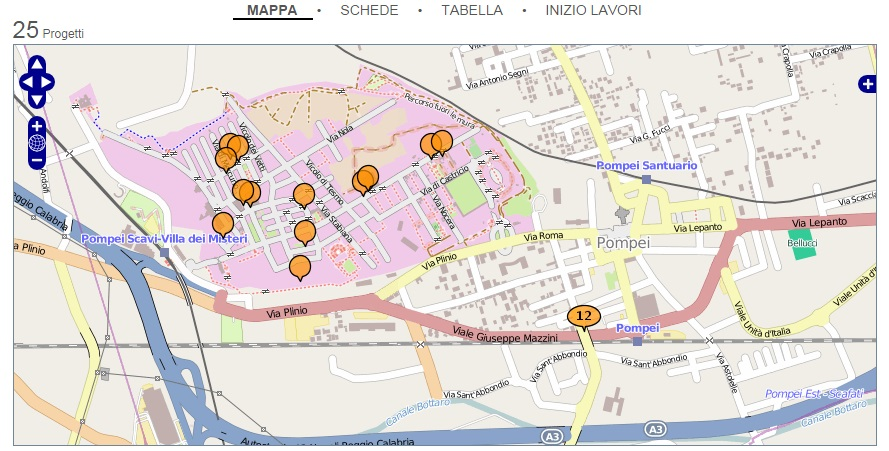 La mappa dei 25 cantieri i cui dati sono consultabili liberamente sul sito di OpenPompei