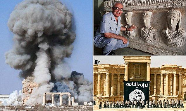 Un riassunto per immagini di ciò che accade a Palmira: Kalhed al Asaad, La distruzione del tempio di Bel, il Festival dell'ISIS nel teatro romano. Fonte: Dailymail.co.uk