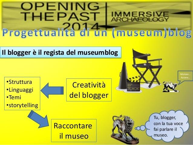 Una vecchia slide che riassume alcuni aspetti fondamentali dell'essere museumblogger. Trovate il resto della presentazione su slideshare