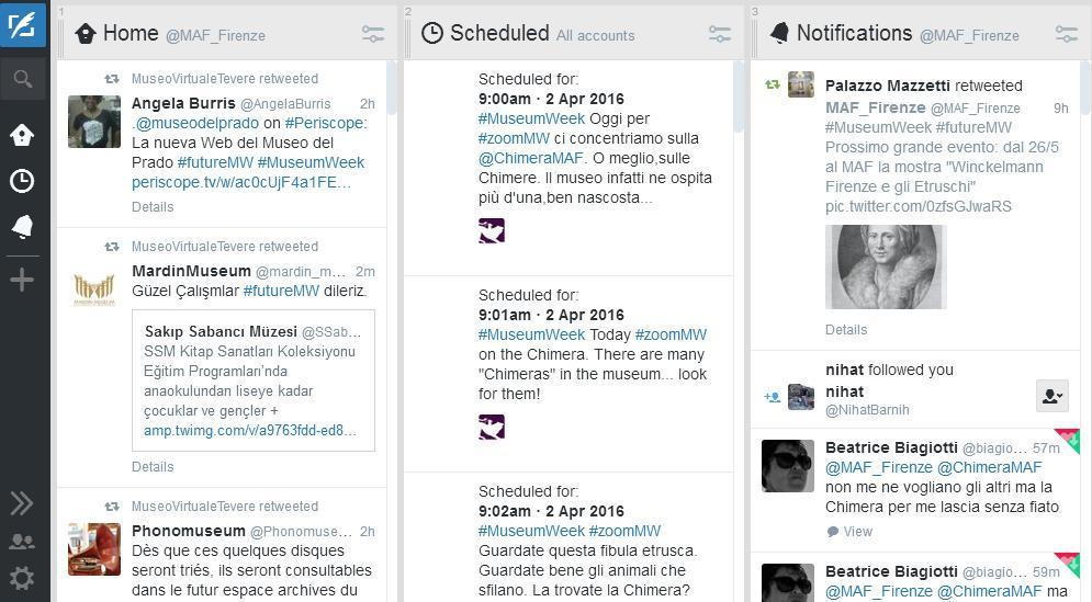 La tweetdeck di @MAF_Firenze durante la #museumweek: colonna della home, delle notifiche e dei tweet già programmati