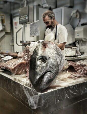 Un tonno da guinness dei primati al mercato del pesce di Cadice